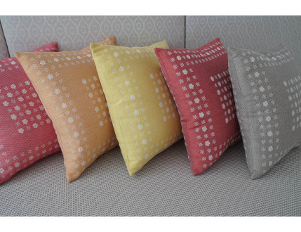Colored cushions with little flowers decoration