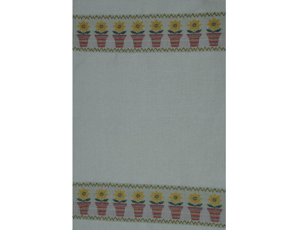 White tea towel with red flower pots and yellow flowers
