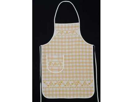 Yellow tyrolean style apron with heart decoration and pocket