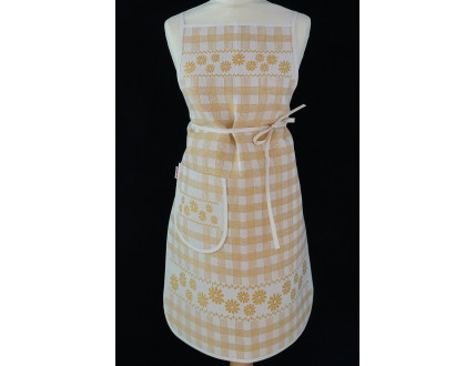 Yellow tyrolean style apron with flowers and pocket