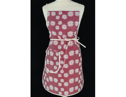 Bordeaux apron with flowers and pocket