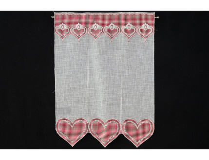 Tyrolean style window curtain with haert decorations