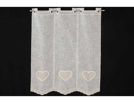 Creme heart window curtain