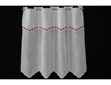 Red heart window curtain