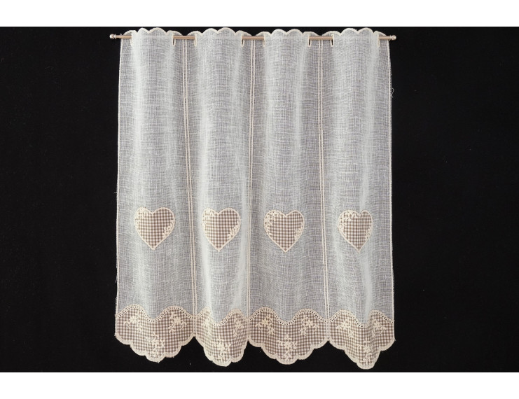 Chequered taupe window curtain with heart  and flowers