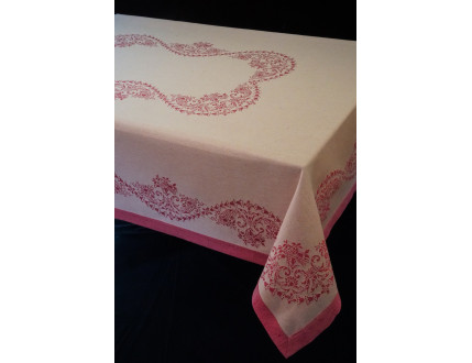 White double face tablecloth with pink hem