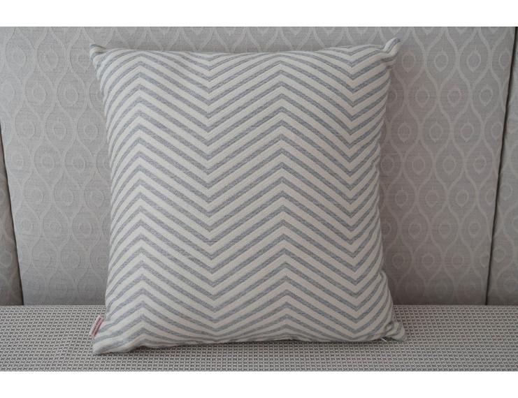 Federa cuscino a strisce zig-zag crema-grigio