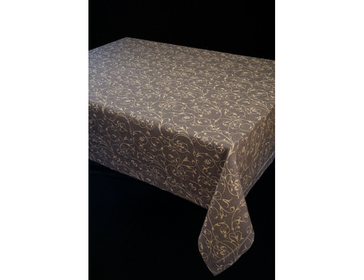 Brown tablecloth with decorations and simple hem
