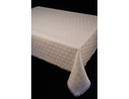 Creme tablecloth with edelweiss and fringe hem