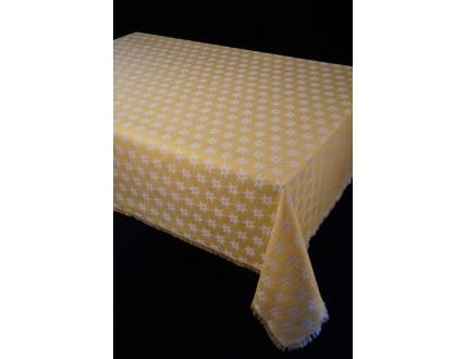 Gelbe Tischdecke mit Edelweiß und Fransensaum