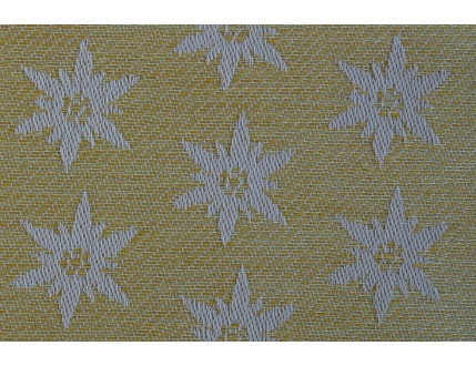 Tovaglia gialla con edelweiss e orlo sfrangiato