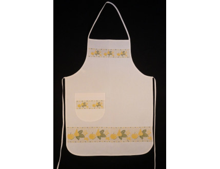White apron with pocket, apple and pear in yellow