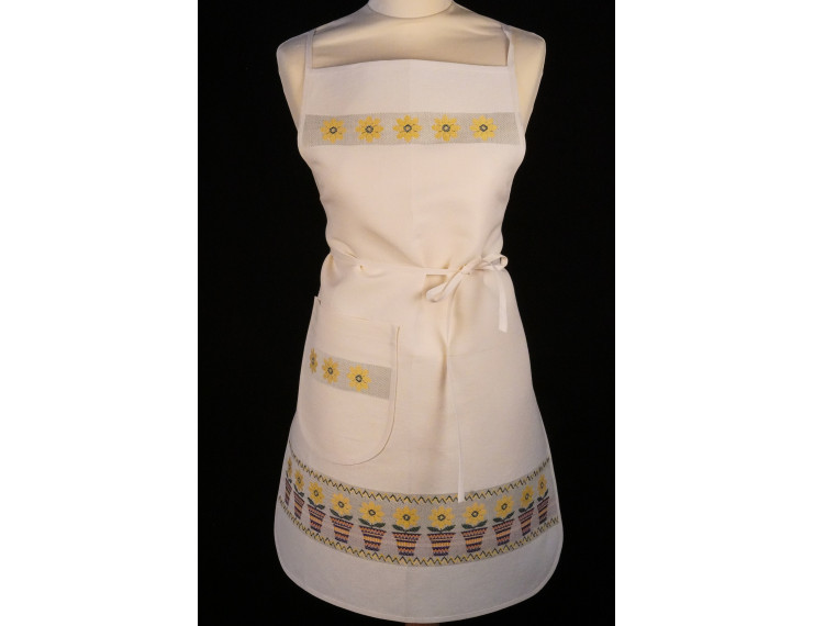 White apron with pocket, flowers and plant pot in yellow