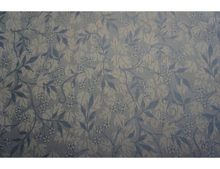 Tessuto jacquard in misto cotone e lino con foglie blu