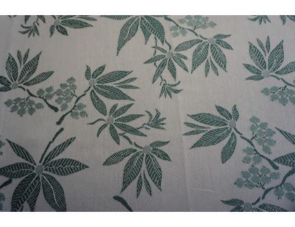 Tessuto jacquard in misto cotone e lino con foglie verdi