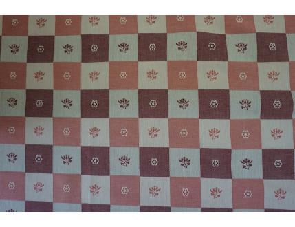 Tessuto jacquard in misto cotone e lino con quadri e fiori rosso