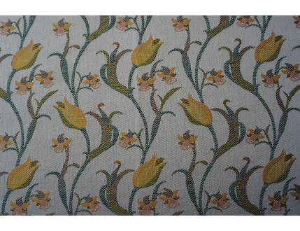 Free sample piece of fabric with yellow tulips