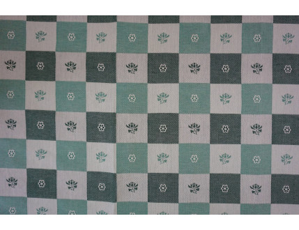 Free sample green piece of fabric chequered with flowers