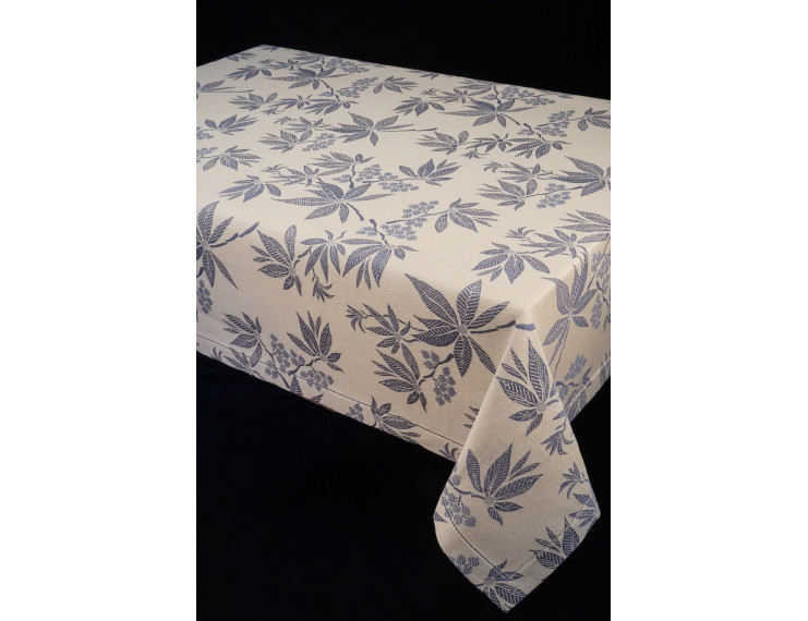 Tablecloth in cotton and linen with blue leaves