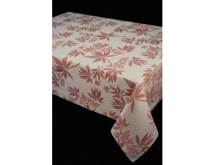 Tablecloth in cotton and linen with bordeaux leaves