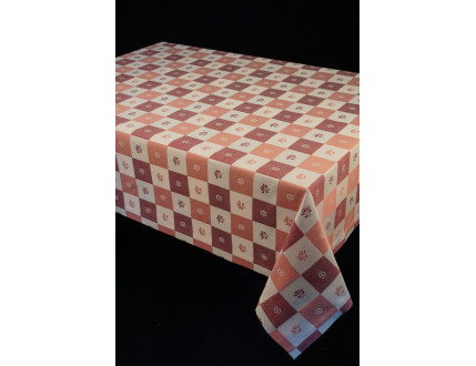Squere tablecloth in different shades of red  with flowers