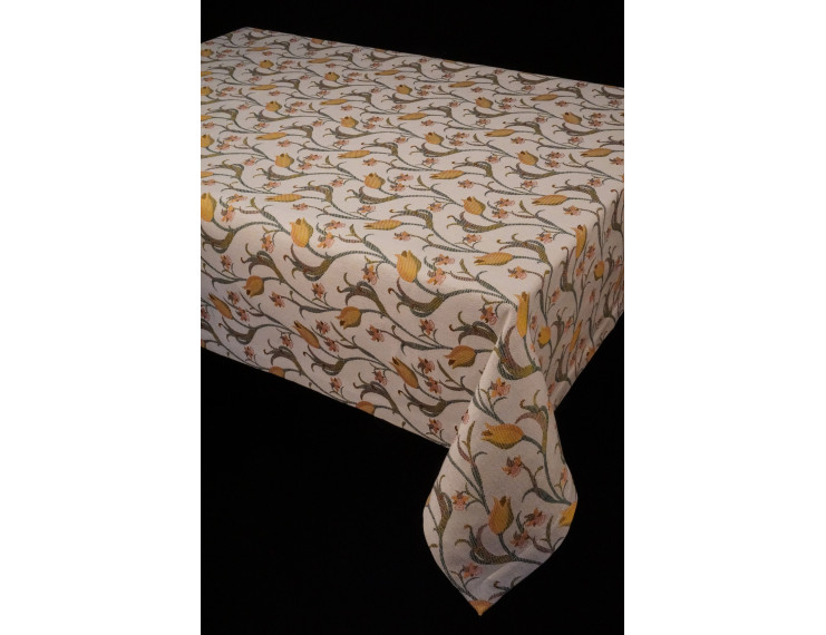Tablecloth with yellow tulips