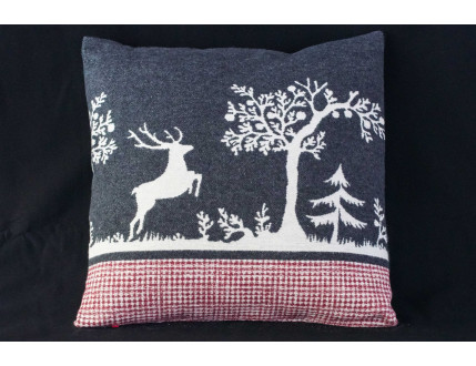 Cushion Deer Red Squares