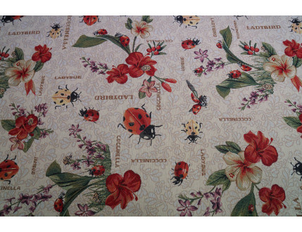 Gobelin fabric with ladybugs