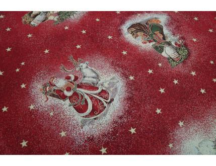 Roter Gobelin-Stoff mit Weihnachtsdekoration  nach Wunsch-Größe