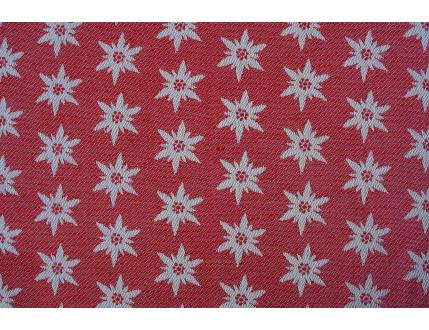 Roter Jacquard-Stoff aus gemischter Baumwolle und Leinen mit Edelweiß
