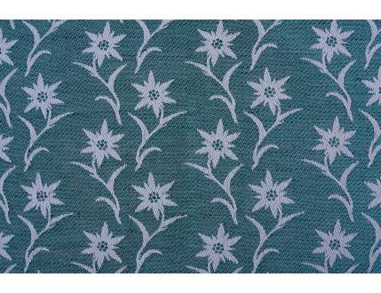 Pezzo di stoffa campione verde con stella alpina
