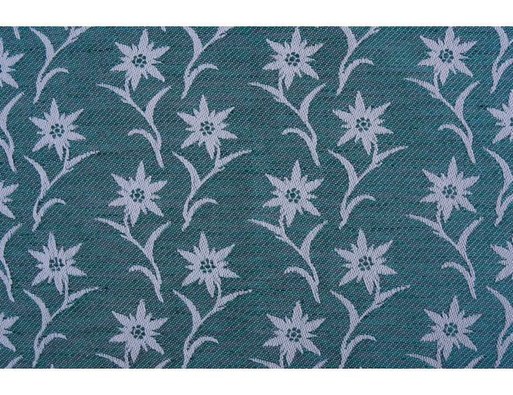Free sample green piece of fabric with edelweiss