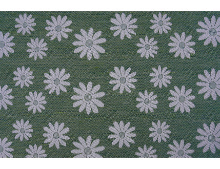 Green jacquard fabric in mixed cotton and linen with flowers