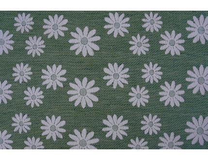 Tessuto jacquard verde in misto cotone e lino con fiori