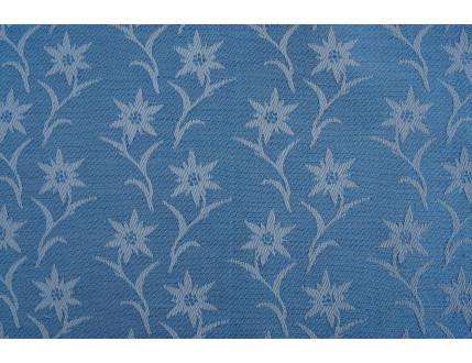 Hellblauer Jacquard-Stoff aus gemischter Baumwolle und Leinen mit Edelweiß