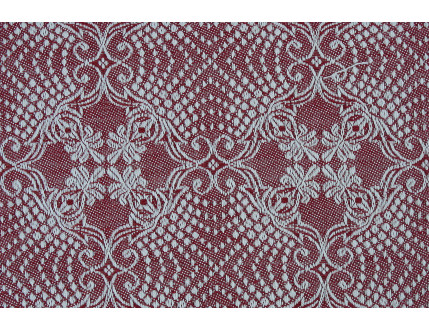 Red jacquard fabric in mixed cotton and linen with decorations