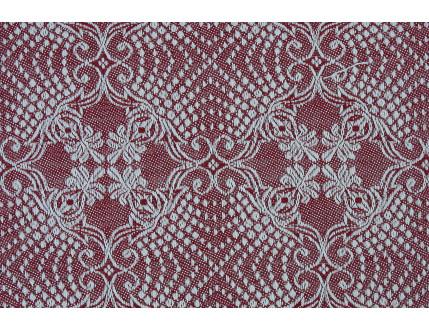 Elegante tessuto jacquard rosso in misto cotone e lino
