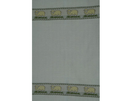 White linen tea towel with sheeps in yellow