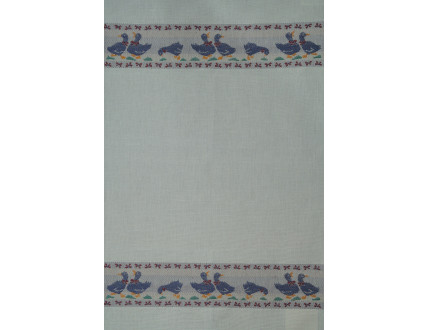 White linen tea towel with blue geese
