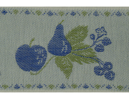High quality white tea towel with blue fruits