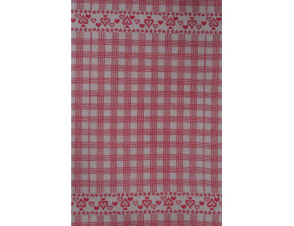 Red checkered tea towel with heart decoration
