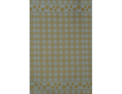 Yellow checkered tea towel with flowers